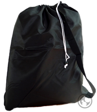 Large Nylon Laundry Bag with Strap, Black