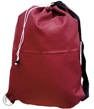 Small Nylon Laundry Bag with Strap, Burgundy