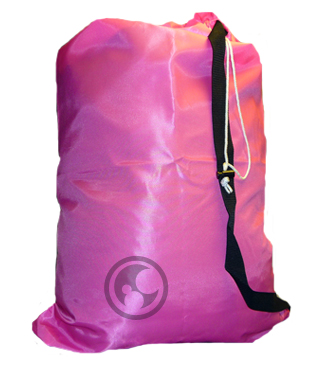 Small Nylon Laundry Bag with Strap, Pink Fluorescent