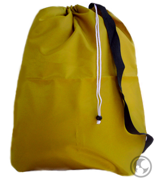 Small Nylon Laundry Bag with Strap, Gold