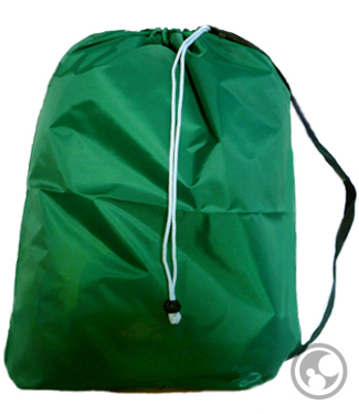 Small Nylon Laundry Bag with Strap, Green
