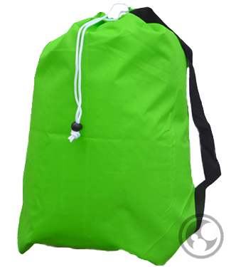 Medium Nylon Strapped Laundry Bag, Lime Green
