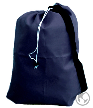 Small Nylon Laundry Bag with Strap, Navy Blue