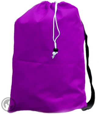 Large Nylon Laundry Bag with Strap, Purple