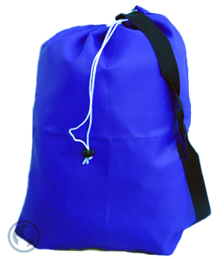 Medium Nylon Strapped Laundry Bag, Royal Blue