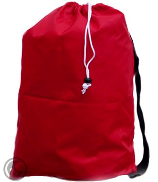 Medium Nylon Strapped Laundry Bag, Red