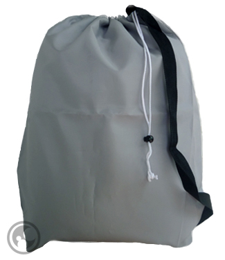 Large Nylon Laundry Bag with Strap, Silver