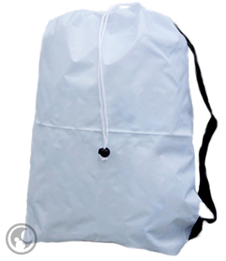 Large Laundry Bag with Strap, White